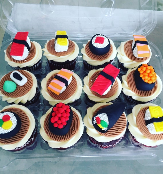 Etsy Cake Decor : Sushi Cupcake Toppers and cake decorations