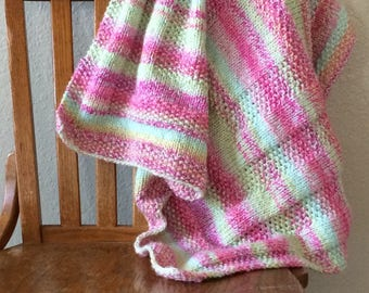 Hand-Knit Pink and Green Baby Blanket