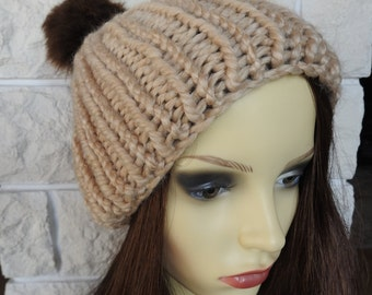 Hand Knitted Light Brown Winter Hat With Brown Pompom - Free Shipping