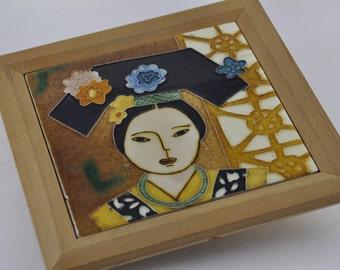 gallerymichel Pair of Ceramic Art Tiles featuring Waprog The Last Empress of China