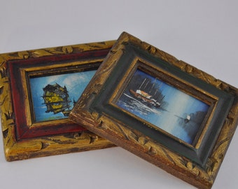 gallerymichel Two Tiny Oil Paintings of Sailing Ships in Hand Carved Frames