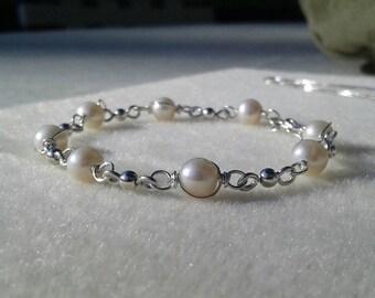 Sale! Freshwater Pearl Bracelet 6-7mm .925 Sterling Silver Wrapped