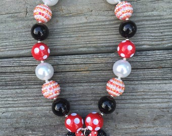 1 Minnie Mouse Chunky Necklace, Red Minnie Mouse Bubblegum Necklace, Minnie Mouse Bubblegum Necklace, Minnie Mouse outfit