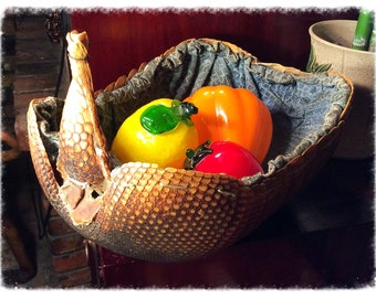Antique Armadillo basket. Real armadillo with sewn in fabric liner. FANTASTIC!