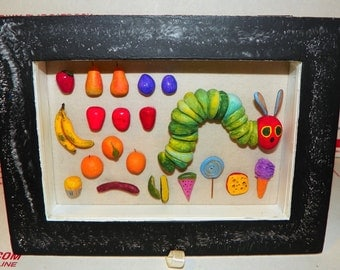 The VERY Hungry Caterpillar - Displayed in a Rebuilt Antique Glass and Wood Case * OOAK * Offers Considered !
