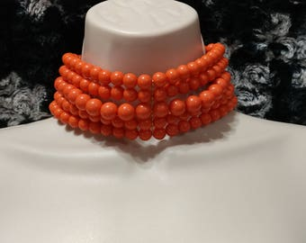 Wide Orange or Coral Lucite Bead Choker