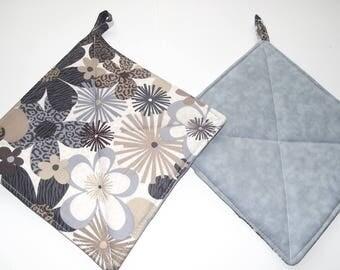 Pot Holders - Slate Blue Flowers