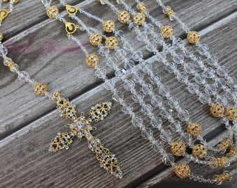 Beautiful Wedding Lasso, Gold Unity Cord, Crystal Wedding Lasso