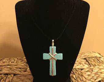 Turquoise Cross Cord Necklace, Turquoise Necklace, Cross Necklace