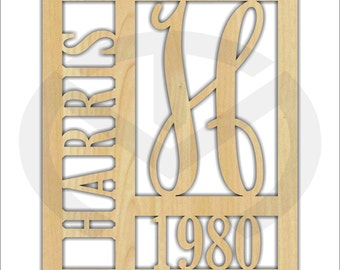 Unfinished Wood Framed Monogram with Name & Year Door Hanger Laser Cutout w/ Your Initial, Home Decor, Various Sizes, Script, Family