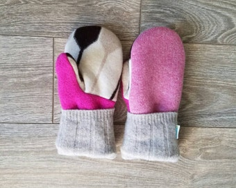 Pink Piano Sweater Mittens //LoveWoolies Mittens //Fleece Lined