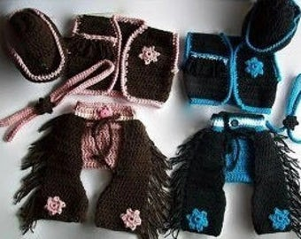 Baby crochet cowboy chaps pattern - Cowgirl and Cowboy Chap Sets - Digital Download - Sizes 0/3Months,3/6Months - Easy baby patterns - DIY