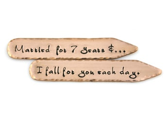 7th ANNIVERSARY COPPER COLLAR Stays Hand Stamped - Married for 7 years & I fall for you each day