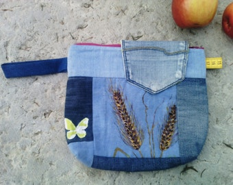 Denim CLUTCH BAG with handle