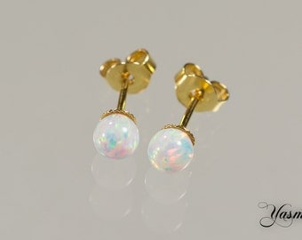 Opal white on sterling gold plated