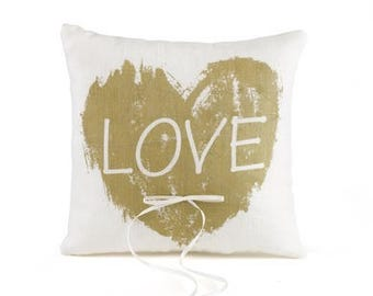 Love Heart Wedding Ring Pillow Rustic Country Wedding