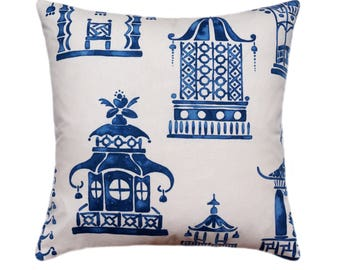 Asian Pagoda Decorative Pillow Cover, Porcelain Blue Pillow, Zephyr Blue Pillow Cover, 18x18 20x20 22x22, Designer Decorative Accent Pillow