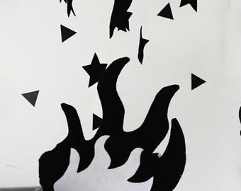 Monochrome Campfire Set, kids campfire,felt campfire, play campfire set, star gazing