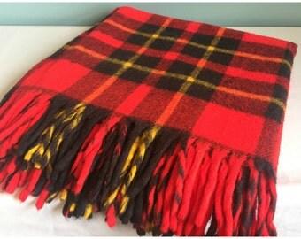 Vintage Tartan Stadium Blanket, Red Plaid Fringed Throw Or Stadium Blanket, Classic  Tartan Blanket.