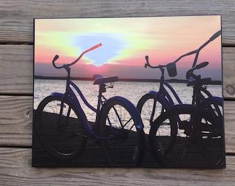 Lavallette NJ - sunset photo - Jersey shore - bike sunset - canvas photo - beach house decor - bike photo - bay sunset - bike lovers gift