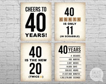 40th Birthday PRINTABLE Sign Pack, 40th Birthday DIGITAL Posters, Cheers to 40 Years Sign, 40th Birthday Decorations, Instant Download