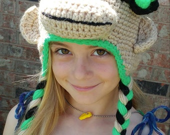 Lime green crochet sock monkey hat with flower