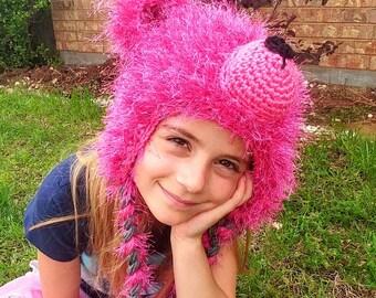 Hot pink crochet teddy bear hat