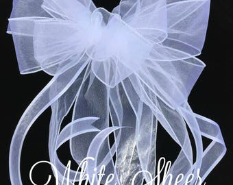Church Pew Bows, FREE SHIPPING, All Sheer Bow, Church Pew Decorations, Pew Decorations Wedding, Church Aisle Decorations, Set of 20, 32, 44