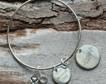 Divorced and Happy Personalized Adjustable Wire Bangle Bracelet