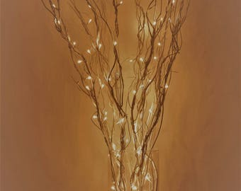 LED Lighted Curly Willow Branches Battery operated with Remote and Extra Branches  Silver, Gold, Pearl, Dark brown