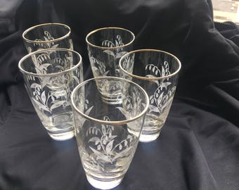 Vintage Glassware, Libbey, Lily of the Valley, 5 drinking glasses