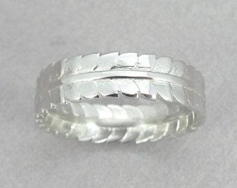 White Gold Leaf Ring, Leaf Wedding Ring, Gold Leaf Ring, leaf gold ring, 14K solid gold leaf wedding ring