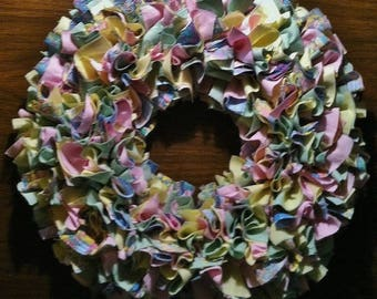 "Rag Wreath 16"" ~ Gently Spring ~ Pastels ~ Country Cottage ~ Shabby Chic ~ Handmade ~ Best Selling Item"