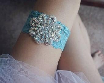 Something blue lace garter band set for bride, blue wedding garter, handmade bridal garter, wedding gift, toss and keepsake garter ,weddings