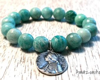 Russian Amazonite and Saint Joan of Arc Medal Bracelet / Saint Medal and Gemstone Bracelet / Boho Bracelet / Grace Collection