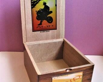 All Wood Cigar Box Craft Supply Purse Craft Storage Pocketbook Repurpose Upcycle Acid Brand Cigar Box Pocketbook Art Craft Supply All Wood