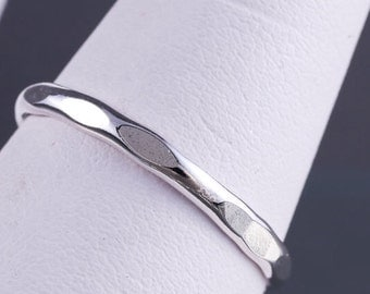 Sterling Silver 12g Hammered Stacking Ring