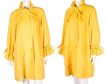 Vintage Karl Lagerfeld 80s Bold Yellow Trapeze Bow Coat