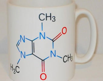 Caffeine Molecule Mug Can Personalise Teacher Student Science Chemistry Gift Cup