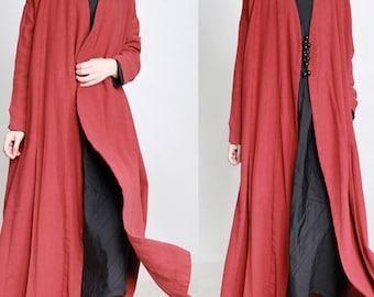 women linen coat/women vintage coat/women loose coat/women comfortable coat/women leisure coat/TZCDCE09911
