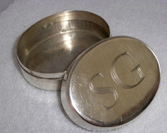 "Silver box, Silver plated oval monogramed ""S"" and ""G"" trinket box, storage box, stash box, pill box"