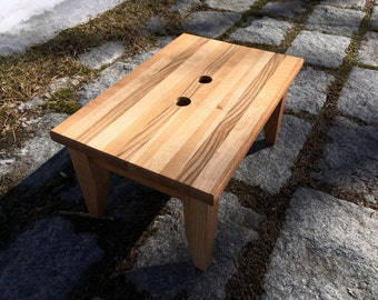 Hardwood Step Stool with Handle Holes