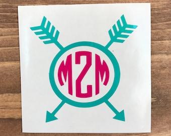 Arrow Monogram Decal, Vinyl Decal, Monogram car decal, Personalized decal, vinyl sticker, yeti decal, car decal, window decal, Boho Decal