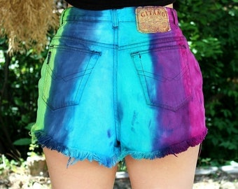 Tie Dye Shorts Colorful Denim High Waisted Shorts 30 Waist