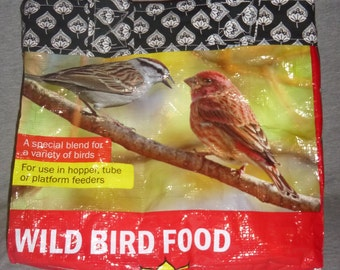Reusable Shopping Tote Bird Seed Bag Repurposed Upcycled Recycled Bird Lovers Grocery Shopping Book from Bird Seed Bag