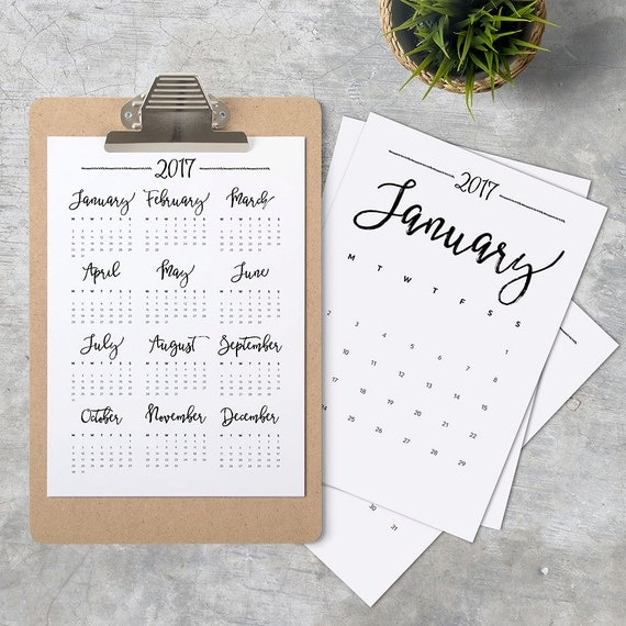 2017 Calendar A4 Printable, Minimalistic, Black And White, Monthly Wall Calendar 8.5x11 A4 INSTANT DOWNLOAD