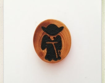 Made to order wood burned Star Wars Yoda button