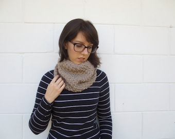 SALE - knit scarf - knit cowl - knit circle scarf - taupe scarf - neckwarmer