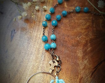 1920's Optical Lens Necklace With Turquoise Bird Charm.  MissShugsJewelryShow.