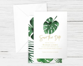 Printed/PDF Save the Date in 'Monstera Gold' with Envelopes - Tropical, Palm, Leaves - A6 - Matching Wedding Suite Available - Customisable
